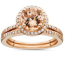 morganite - Rose Gold Wedding Ring Sets
