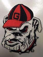 """GA Bulldog patch heat seal backing  3.25"""" tall iron on Univ. of GA"""