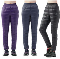 Super Women Warm Waterproof Breathable Hiking Real Down Outdoor Pants Trousers