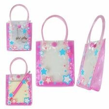 24 Mini Small Transparent Vinyl Stars Gift Bag w/Handle & Button closer