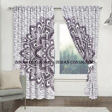 Cotton Grey Color Flower Ombre Mandala Wall Hanging Cotton Door Window Curtain