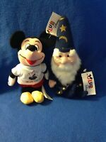 Club Disney Exclusive Mickey Mouse & Merlin Wizard Set of 2 Plush Beanies - NWT
