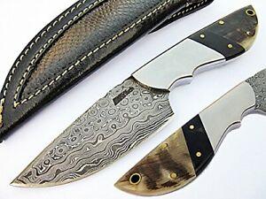 Fightin Samurai Fixed Blade Damascus Steel Blade Ram Horn Handle AT-1799