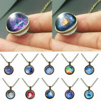 Vintage Double Sided Moon Space Solar System Glass Ball Necklace Galaxy Pendant