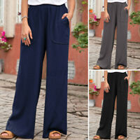 Size Women Elasticated Cotton Wide Leg Casual Baggy Flare Pants OL Trousers 8-26