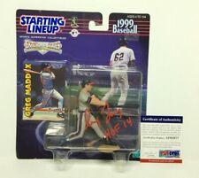 """Greg Maddux Signed Atlanta Braves Baseball Starting Lineup """"HOF 14"""" PSA AF61677"""