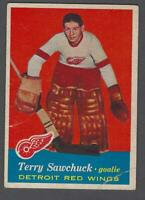 1957-58 Topps Detroit Red Wings Hockey Card #35 Terry Sawchuk UER