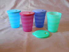 Tupperware set of 4-16 oz tumblers with dripless straw seals cups glasses NEW