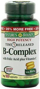 Nature's Bounty B-Complex w/Folic Acid + Vitamin C Time Released Tabs - 100 ct