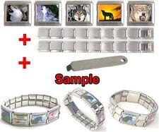 Wolf Animal Photo 18mm Mega Stainless Steel Italian Charms Bracelet + Tool HG52