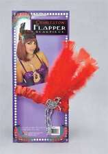 RED FLAPPER CHARLESTON HEAD DRESS W FEATHERS 1920'S Gatsby Peaky Blinders