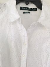 Lauren Ralph Lauren NEW White Womens Size 12 Eyelet Sheath Dress $144