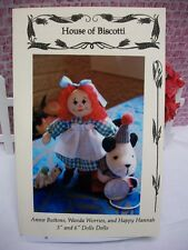 """3"""" and 6"""" Dolls Doll PATTERN, Annie Buttons, Wanda Worries, Happy Hannah"""