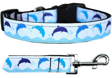 Mirage Blue Dolphins Nylon Dog Collars and Leash Combo
