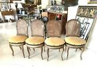 Set Four Antique  French Wicker  Dining Accent Chairs w/ Cushions PICKUP ONLY