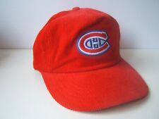 Vintage Montreal Canadiens Hat Red Corduroy NHL Hockey Snapback Baseball Cap