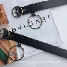 Chic Women PU Leather Belt Waist Band Round Metal Circle O Ring Belt Decor Black