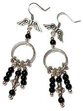 Black Chandelier Hoop Earrings Long Silver Pierced Angel Wing Hooks Glass Bead