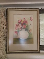 Vtg 50s Watercolor Painting Pink Flower Bouquet In Hobnail Vase Signed Clements