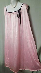 "ONLY NECESSITIES Pink Blue Nightgown  Calf Sleeveless 1X GIFT 60"" BUST"