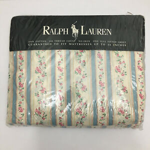 Ralph Lauren Rosalie Full Fitted Sheet NIP Unopened Vintage 1990s