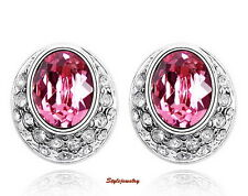 18k White Gold Filled Oval Pink Made with Swarovski Crystal Bridal Earring XE15