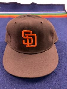 San Diego Padres 80s New Era Pro Model Leather Band Fitted hat sz. 7 3/8 New Mlb