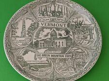 Vintage Souvenir Plate VERMONT Maple Syrup, Granite, Covered Bridges
