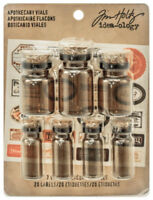 Tim Holtz Idea-ology Apothecary Vials Small Corked Glass Containers With Labels