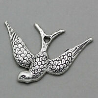 "100PCs Charm Pendants Pattern Swallow Bird Silver Tone 24mmx17mm(1""x5/8"")"