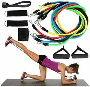 11 PCS Resistance Bands  Portable Set, with Door Anchor, For Home Work out !