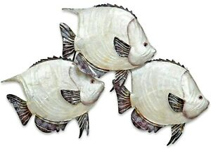 Dory Fish School metal w/ capiz finish sea life wall art