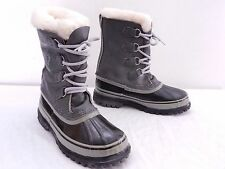 SOREL CARIBOU Womens 6 Gray Leather Shearling Lined Warm Winter Snow Boots