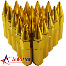 20PCS Gold Cap Spiked Extended Tuner Aluminum M12X1.5 60mm Wheels Rims Lug Nuts