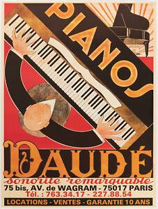 Original Vintage Poster - André Daudé - Piano Daudé - Musique - Réédition - 1980