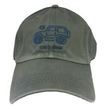 *RARE* Life is Good Mens NATIVE JEEP Off Road Hat Chill Cap GREY Womens GRAY