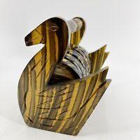 Vintage Mid Century Modern Wooden Drink Coaster Set of 12 Carved Swan Design