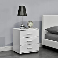 [en.casa]® Bedside Table Nightstand  with 3 Drawers  - White - 45 x 34 x 50cm