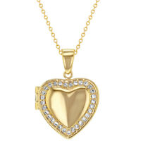"""18k Gold Plated Clear CZ Heart Shaped Locket Pendant Necklace Girls Teens 18"""""""