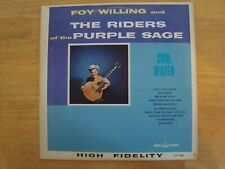 """Vinyl LP Record Foy Willing Riders of the Purple Sage """"Cool Water"""" Plays Great!"""