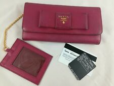 PRADA Saffiano Bow Portemonnaie Leder in Ochidea Pink mit Kartenhalter