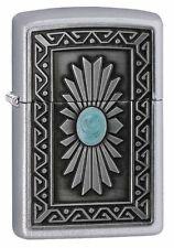 Zippo Windproof Satin Chrome Lighter With Southwest Sun Emblem, 29105 New In Box