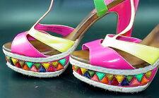 unlisted 8.5 M Patent Neon Tiki Strappy Bejeweled Platform Vegan Sandals Cruise