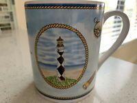 Lighthouse Coffee Mug Cape Lookout NC nautical ship wheel Royal Norfolk