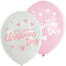 6 x Pretty Baby Girls Christening Balloons Decoration Pink & white Helium or air
