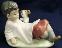 Lladro choir boy with puppy TALKING TIME model 5988 produced between 1993-1998