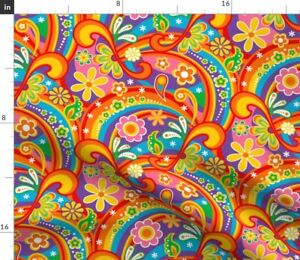 Psychedelic Flower Power 1960S Flowers Colorful Spoonflower Fabric by the Yard