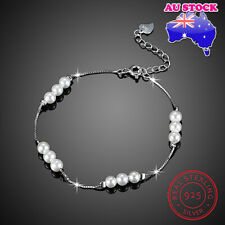 Wholesale 925 Sterling Silver Shell Pearl With Clear CZ Bridesmaid Bracelet