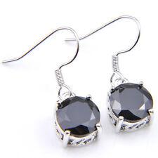 12MM Round Cut Black Onyx Gemstone Silver Dangle Hook Earrings 22.65 Cts