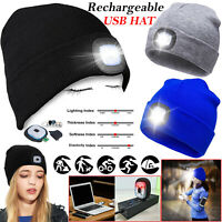 Rechargeable LED Beanie Light Hat USB Battery Thin Insulate Winter Warm Material